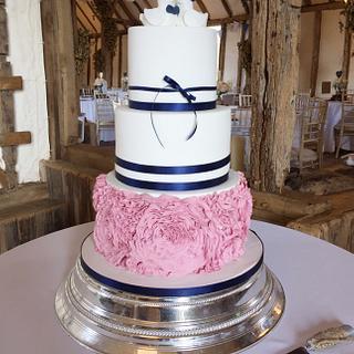Rosette Ruffles Wedding Cake