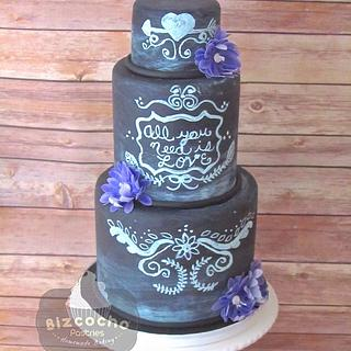 Chalkboard wedding cake and wafer paper flowers