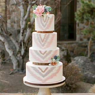 Rustic Wedding Cake with Sugar Flowers and Hand-Painted Stripes