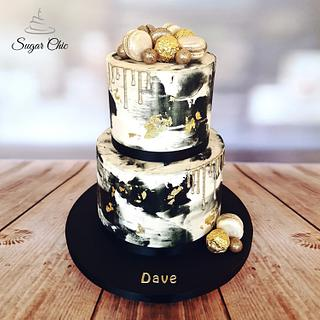x Black & Gold Buttercream Drip Cake x