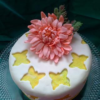 Chrysanthemum Flower Birthday Cake