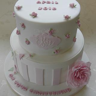 Rose Christening - Cake by The Cake Lady (Tracy)