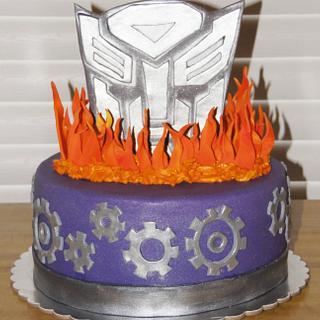 Transformer and Flames Cake