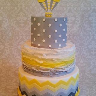 """""""Pop"""" Yellow & Gray Baby Shower Cake"""