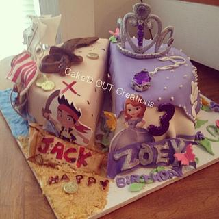 Twin birthday split cake