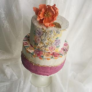 Handpainted Floral Cake