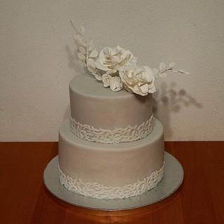With wedding cake