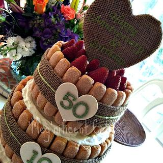 Strawberries and Cream Natural/Rustic Cake