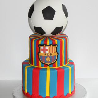 Messi FC Barca Soccer Ball Cake
