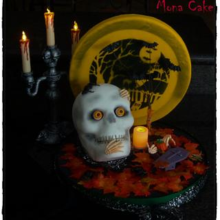Halloween Skeleton Head Cake with Scenery - Cake by Mona