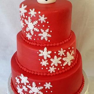 Snowflake/snowman Cake