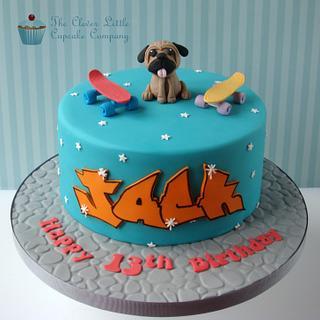 Skate Boarding Pug Cake