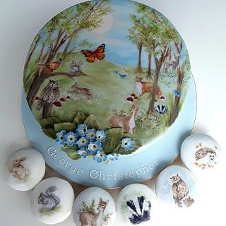 Woodland Animal Painted Christening Cake