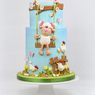 Little Sheep Easter Cake
