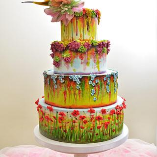 Claude Monet inspired wedding cake