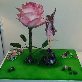All Things Nice Collaboration.  Large rose and fairy cake
