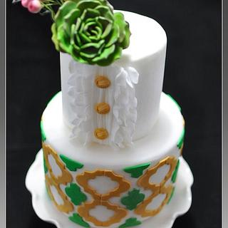 Green and Gold Quatrefoil With Succulent flower