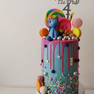 Rainbow Dash drip cake