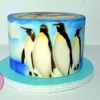 artic airbrush cake  - Cake by Sabsy Cake Dreams