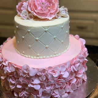 Open peony and pink ruffles