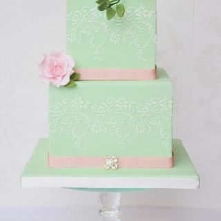 Mint & pink cake  - Cake by Mrs Robinson's Cakes