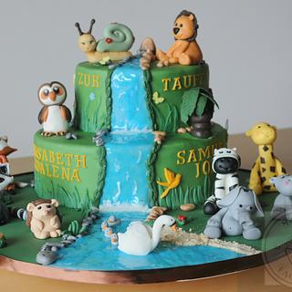 Forest and Jungle Christening Cake - Cake by Maria