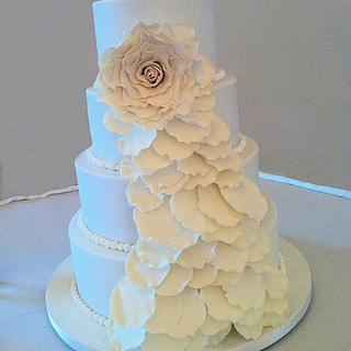 Cascading Rose Tiered Cake