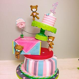 Gravity cake teddy bear