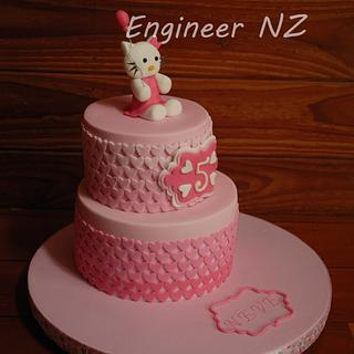 Hello Kitty pink heart cake