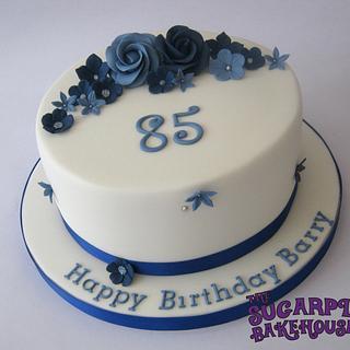 Blue & White 85th Birthday Cake