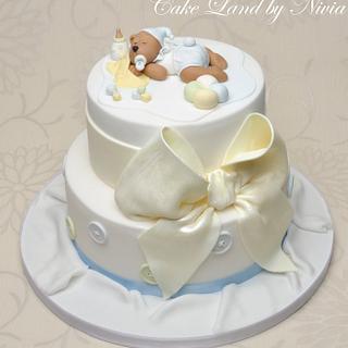 Baby shower cakes - sleeping teddy