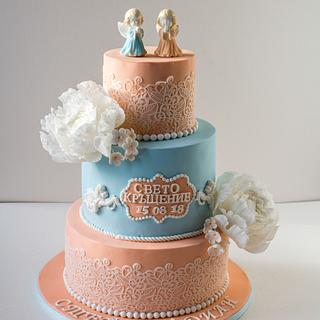 Christening cake for twins