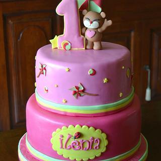 B-day invite-inspired cake