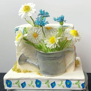 Cake with field flowers