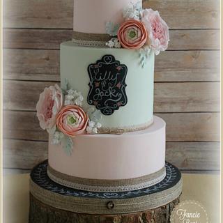 Vintage Blooms & Chalkboard Plaque - Cake by Fancie Buns