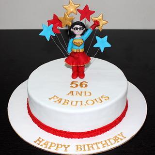 Supermom theme designer cake for moms 56th birthday