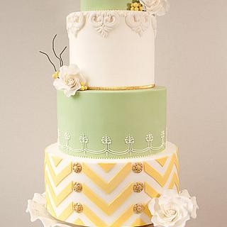 Lemon & Lime Chevron Wedding Cake