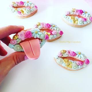 Floral Lip Cookies - Cake by Sophia Mya Cupcakes (Nanvah Nina Michael)