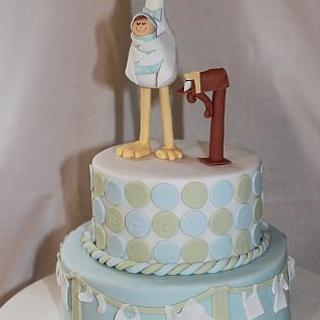 Stork delivery baby shower cake