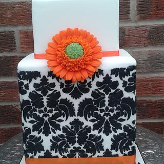 Jacquard Gerbera cube cake