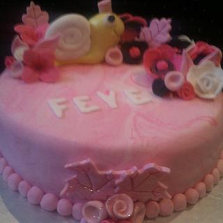 Snail & flowers bithday cake