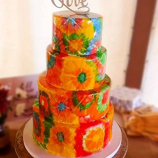 Hand painted tie dyd wedding cake