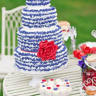 Red White and Blue Ruffle Wedding Cake