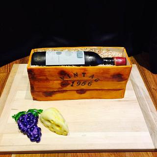 Vintage wine crate cake