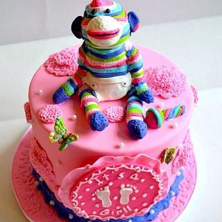 Rainbow sock monkey baby shower