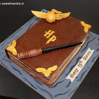 Harry Potter book shaped 3D fondant birthday cake