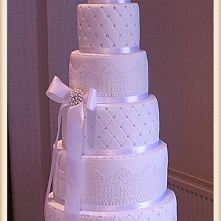 Six Tier White Wedding Cake