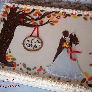 fall wedding sheet cake