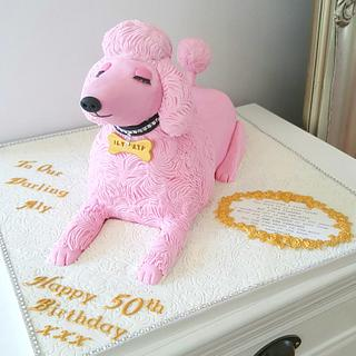 Pink Poodle Dog Cake