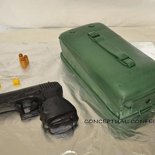 Glock Gun with Ammo Case - Cake by Jessica